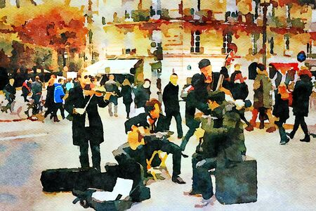 watercolor representing the musicians playing in a square in Paris in autumn Zdjęcie Seryjne