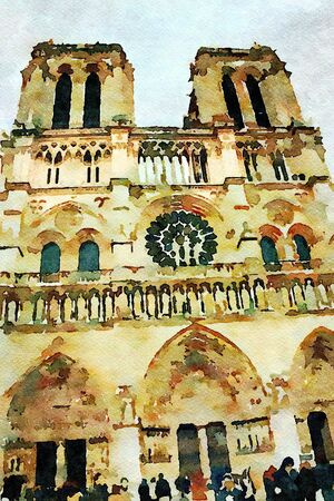 watercolor representing the main facade of the Notre dame cathedral in Paris in the autumn