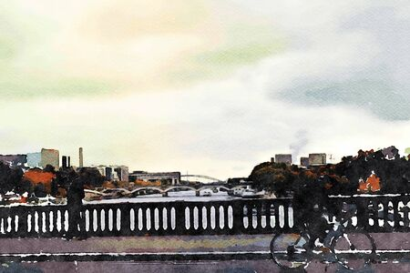 watercolor representing a bicycle ride on one of the bridges on the Seine in Paris in the autumn