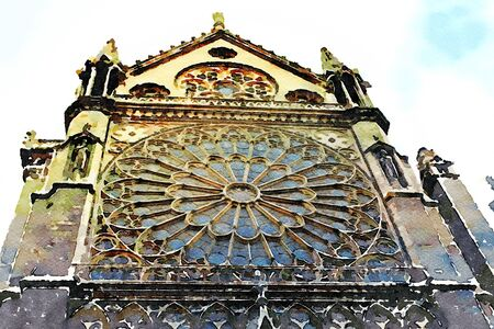 watercolor representing the rose window on a facade of the Notre dame cathedral in Paris in the autumn