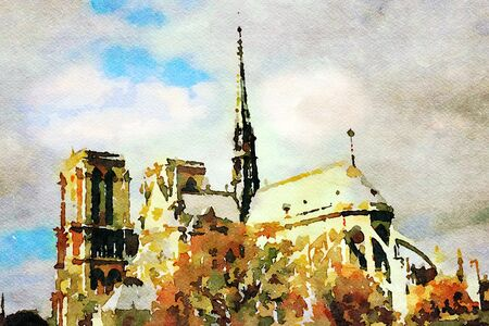 watercolor representing a glimpse of the cathedral of Notre Dame in Paris in the autumn 写真素材