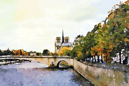 watercolor representing Notre Dame cathedral seen from the bridges over the Seine in Paris in autumn 写真素材
