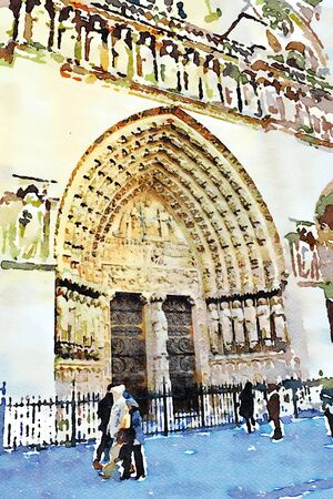 watercolor representing one of the entrances of the Notre dame cathedral in Paris in the autumn