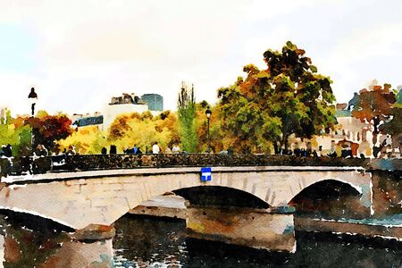 watercolor representing one of the bridges over the Seine in Paris in the autumn