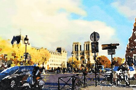 watercolor representing the view of the cathedral of Notre Dame from one of the squares of Paris in the autumn