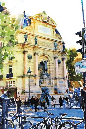 watercolor representing one of the squares in the center of Paris