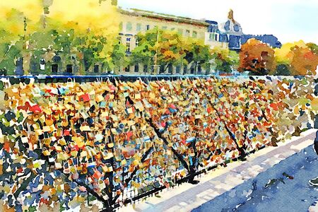 watercolor representing the famous padlocks on one of the bridges over the Seine in Paris in autumn