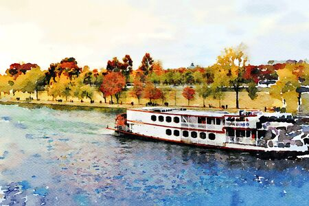 Watercolor representing a steamboat on the Seine in Paris in the autumn 写真素材