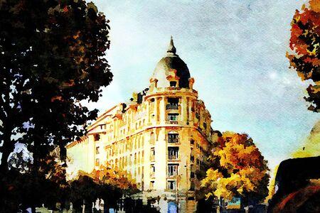 een historisch gebouw op een kruispunt in het centrum van Parijs in de herfst