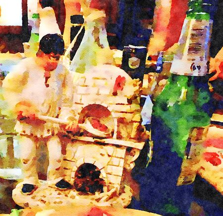 Watercolor representing a pulcinella baking a pizza and a bottle of beer