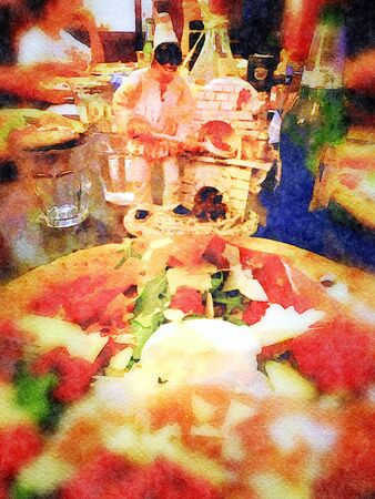Watercolor representing a pulcinella baking a pizza and a bottle of beer with a pizza in front of it with mozzarella, raw ham, parmesan and basil