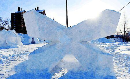 Kiruna, Sweden, February 25, 2020. Watercolor representing ice sculptures in the public park of the city of Kiruna
