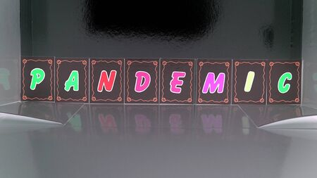 pandemic composed with colored cardboard letters Stockfoto