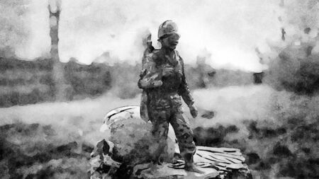 Watercolor representing a soldier and death. At the dawn of a new era, the soldier leaves the war and death behind and leaves. History will change
