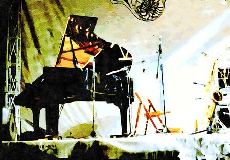 Watercolor representing a grand piano and a saxophone ready to be played