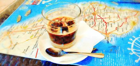 Digital watercolor style picture representing a glass of Lecce coffee on the geographical map of Salento, Puglia region.