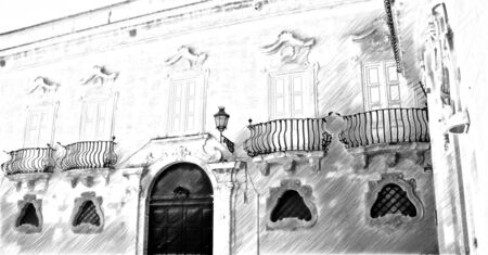 computerized black and white drawing that represents a glimpse of an ancient building in the historic center of Lecce in Italy