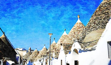 Digital watercolorstyle that represents a glimpse of a street in Alberobello in Puglia with the trulli, the typical houses of the place.