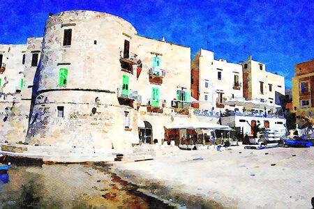 Digital watercolostyle which represents a glimpse of the small port of Giovinazzo in Salento in Puglia