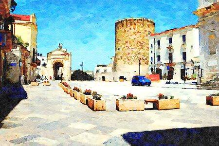 Digital watercolostyle which represents one of the squares of the historic center of Bitonto in Puglia with one of the city gates and the tower.