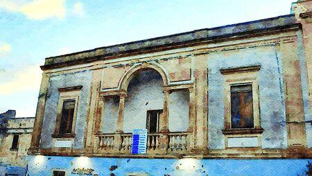 Digital watercolostyle which represents a glimpse of one of the historic buildings of the historic center of Castro in Salento in Puglia