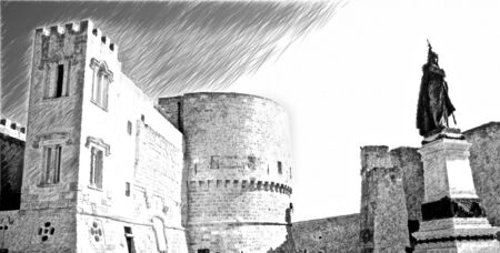 Computerized drawing in black and white in black and white representing a glimpse of the ancient walls that overlook one of the squares of Otranto in Salento in Puglia, Italy