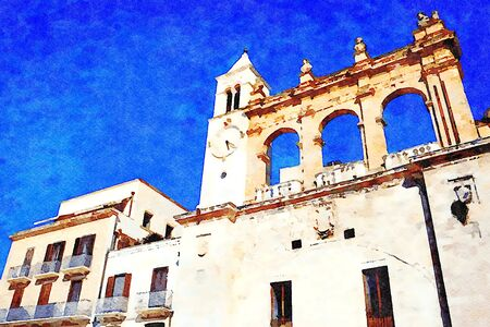 watercolorstyle representing one of the historic buildings with the clock tower in the historic center of Bari in Puglia Italy Banque d'images