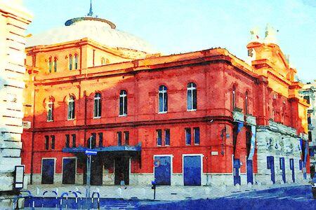 digital watercolorstyle representing a glimpse of a historic building in the center of Bari in Puglia Italy