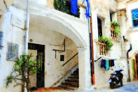 watercolorstyle representing an ancient palace in an alley in the historic center of Bari in Puglia Italy