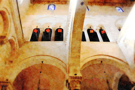 watercolorstyle representing the arches of one of the churches in the historic center of Bari in Puglia Italy