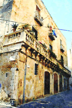 watercolorstyle representing an ancient palace in the historic center of Bari in Puglia Italy