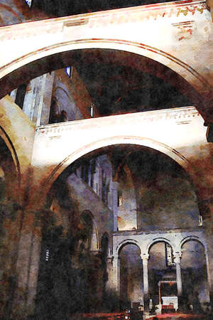digital watercolorstyle representing the arches of one of the churches in the historic center of Bari in Puglia Italy