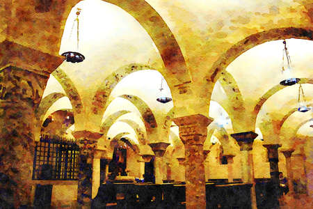 digital watercolorstyle representing the arches and colonnade of the crypt of one of the churches in the historic center of Bari in Puglia Italy