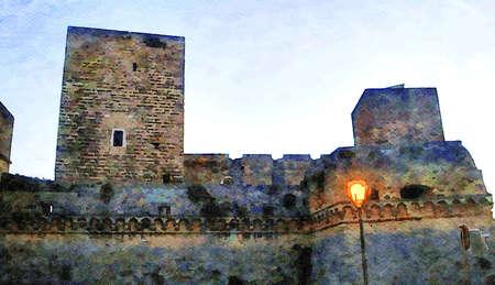 watercolorstyle representing a glimpse of the ancient castle of Bari in Puglia Italy