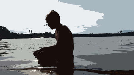 Digital color painting style representing a boy crouching by the sea