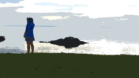 Digital painting style representing a young woman on top of a ridge on the sea