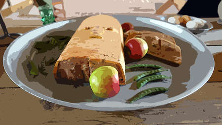 Digital color painting style representing a tray with a meat pie with apples and green beans and a tray with boiled eggs in the background Foto de archivo