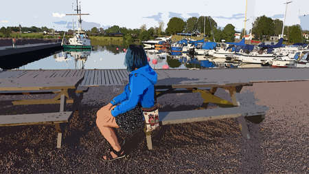 Digital painting style representing a young woman dressed in blue with a colorful shoulder bag sitting down looking towards the marina with many boats docked