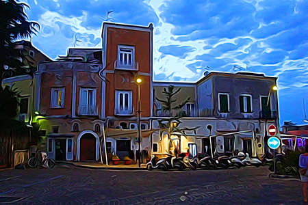 Digital color painting style that represents one of the little squares of Procida, outside Naples