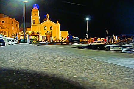 Digital color painting style representing the church square of Procida at night, outside Naples