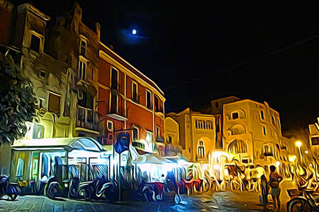 Digital color painting style which represents the marina village of Procida during a summer night 版權商用圖片