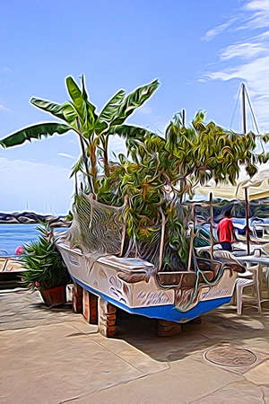 Digital color painting style representing a boat with plants inside Procida, outside Naples