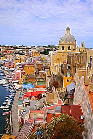 Digital color painting style that represents a glimpse of the seaside village and the small port of Procida, outside Naples 版權商用圖片