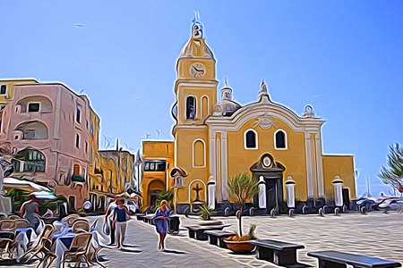 Digital color painting style that represents a glimpse of the Procida church, outside Naples 版權商用圖片
