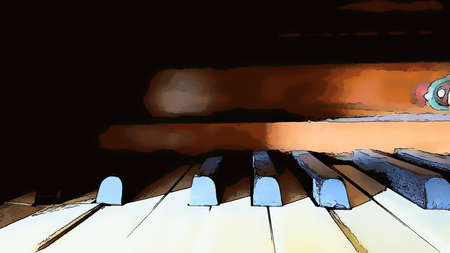 Digital color painting style representing the black and white keys of an old piano 版權商用圖片