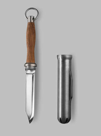 throwing knife: Underwater Combat knife on a gray background with shadow