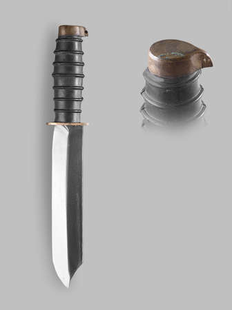 throwing knife: Underwater Combat knife with sheath on a gray background