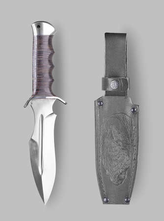 stabs: Combat knife with sheath on a gray background with shadow