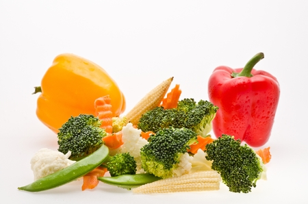 mixed cut vegetable on white background isolate photo