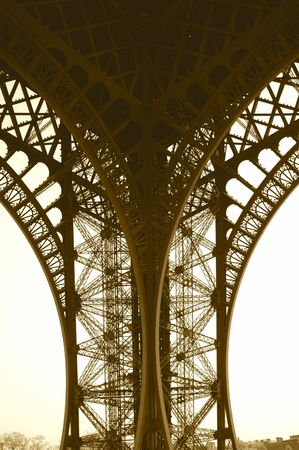 Eiffel Tower Support Sepia